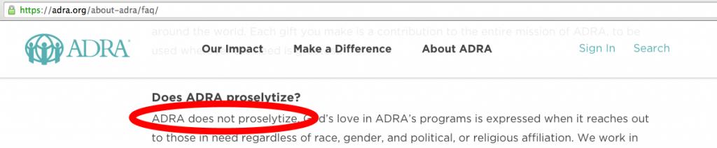 ADRA-proselitize-not